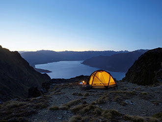 Tent up on a mountain